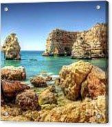 Hdr Rocky Coast Acrylic Print by Carlos Caetano