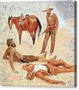He Lay Where He Had Been Jerked Still As A Log  Acrylic Print by Frederic Remington