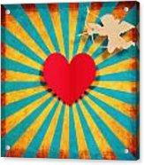 Heart And Cupid On Paper Texture Acrylic Print by Setsiri Silapasuwanchai