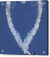 Heart Shape Smoke And Plane Acrylic Print by Garry Gay
