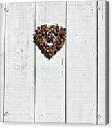 Heart Wreath On Wood Wall Acrylic Print by Garry Gay