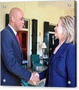Hillary Clinton Meets With Haitian Acrylic Print by Everett