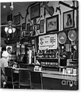 Historic Niles District In California Near Fremont . Bronco Billys Pizza Palace . 7d10707 . Bw Acrylic Print by Wingsdomain Art and Photography