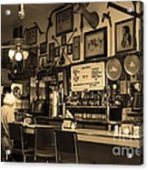 Historic Niles District In California Near Fremont . Bronco Billys Pizza Palace . 7d10707 . Sepia Acrylic Print by Wingsdomain Art and Photography