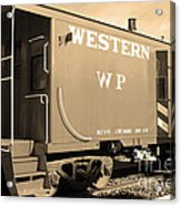 Historic Niles District In California Near Fremont . Western Pacific Caboose Train . 7d10627 . Sepia Acrylic Print by Wingsdomain Art and Photography
