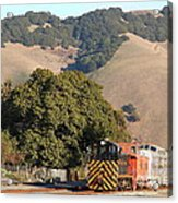 Historic Niles Trains In California . Old Southern Pacific Locomotive And Sante Fe Caboose . 7d10817 Acrylic Print by Wingsdomain Art and Photography
