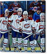 Hockey Art At Bell Center Montreal Acrylic Print by Carole Spandau