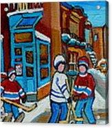 Hockey Game Corner Clark And Fairmount Wilenskys Paintings Acrylic Print by Carole Spandau