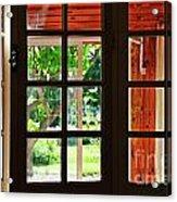 Home Garden Through Window Acrylic Print by Sami Sarkis