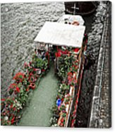 Houseboats In Paris Acrylic Print by Elena Elisseeva