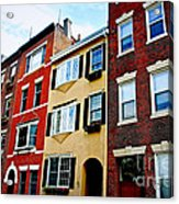 Houses In Boston Acrylic Print by Elena Elisseeva