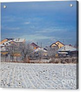 Houses In Winter Acrylic Print by Gabriela Insuratelu