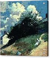 Houses On A Hill Acrylic Print by Winslow Homer