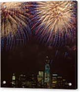Hudson River Fireworks Xi Acrylic Print by Clarence Holmes