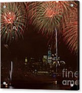 Hudson River Fireworks Xii Acrylic Print by Clarence Holmes