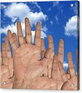 Human Hands And The Sky, Conceptual Image Acrylic Print by Victor De Schwanberg