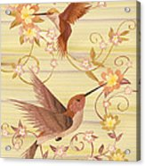 Hummingbirds - Wood Art Acrylic Print by Vincent Doan