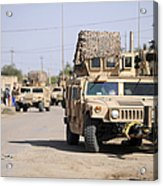 Humvees Conduct Security Acrylic Print by Stocktrek Images