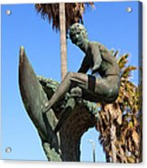 Huntington Beach Surfer Statue Acrylic Print by Paul Velgos