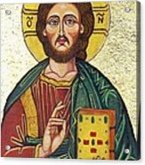 Icon Of Jesus As Christ Pantocrator Acrylic Print by Ion vincent DAnu