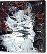 Icy Waterfalls Acrylic Print by Paul Ge