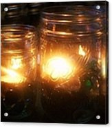 Illuminated Mason Jars Acrylic Print by Christy Beal