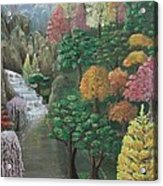 Imagined Autumn In Japan Acrylic Print by Ana Maria  Garcia Ruiz