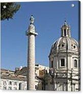 Imperial Fora With The Trajan's Column And The Church Santissimo Nome Di Maria.  Rome Acrylic Print by Bernard Jaubert