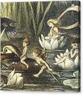 In Fairyland Fairies And Waterlilies Acrylic Print by Richard Doyle