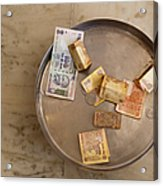 Indian Money In A Dish Acrylic Print by Inti St. Clair
