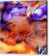 Indigo Brown Orange Yellow And Silver  Acrylic Print by Alexandra Jordankova