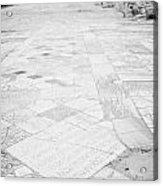 Inscription In The Floor Tile Of The Gymnasium Stoa Ancient Site Salamis Famagusta Acrylic Print by Joe Fox