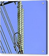 Insulators On An Electricity Pylon Acrylic Print by Paul Rapson