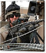Iraqi And U.s. Soldiers Patrol The Al Acrylic Print by Stocktrek Images