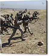 Iraqi Army Soldiers Move To Positions Acrylic Print by Stocktrek Images