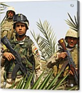 Iraqi Soldiers Conduct A Foot Patrol Acrylic Print by Stocktrek Images