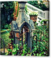 Iron Fence Detail Acrylic Print by Perry Webster