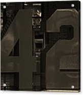 Jackie Robinson 42 In Sepia Acrylic Print by Rob Hans