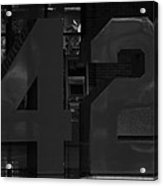 Jackie Robinson In Black And White Acrylic Print by Rob Hans