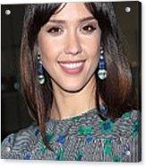 Jessica Alba Wearing Vintage Earrings Acrylic Print by Everett