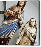 Jesus Christ And Saint Statues In Church Acrylic Print by Sami Sarkis