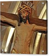 Jesus On Cross Acrylic Print by Sami Sarkis