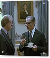 Jimmy Carter And The Shah Of Iran Talk Acrylic Print by Everett