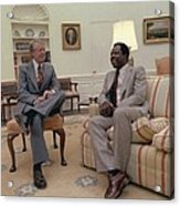 Jimmy Carter Chatting With Hank Aaron Acrylic Print by Everett