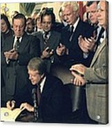 Jimmy Carter Signs Airline Deregulation Acrylic Print by Everett