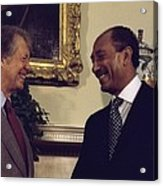Jimmy Carter With Egyptian President Acrylic Print by Everett