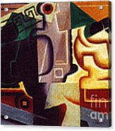 Juan Gris Glas Und Karaffe Acrylic Print by Pg Reproductions