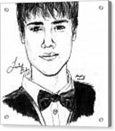 Justin Bieber Suit Drawing Acrylic Print by Pierre Louis