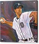Justin Verlander Throws A Curve Acrylic Print by Nora Sallows