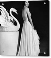 Kay Francis Modeling White Chiffon Acrylic Print by Everett